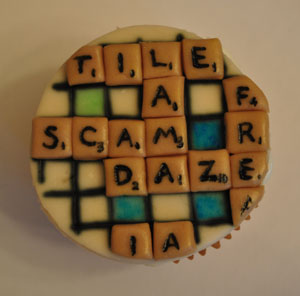 Scrabble cupcake