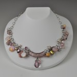 glass, pearl, shell, crystal, rose quartz, mookite, sterling silver