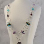birthday necklace in glass, sterling silver