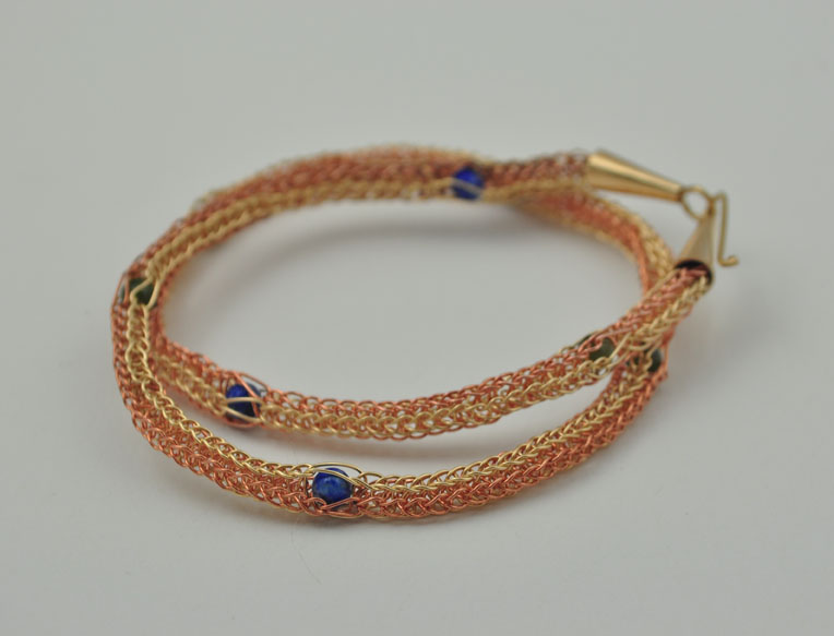 jade and lapis knit bracelet